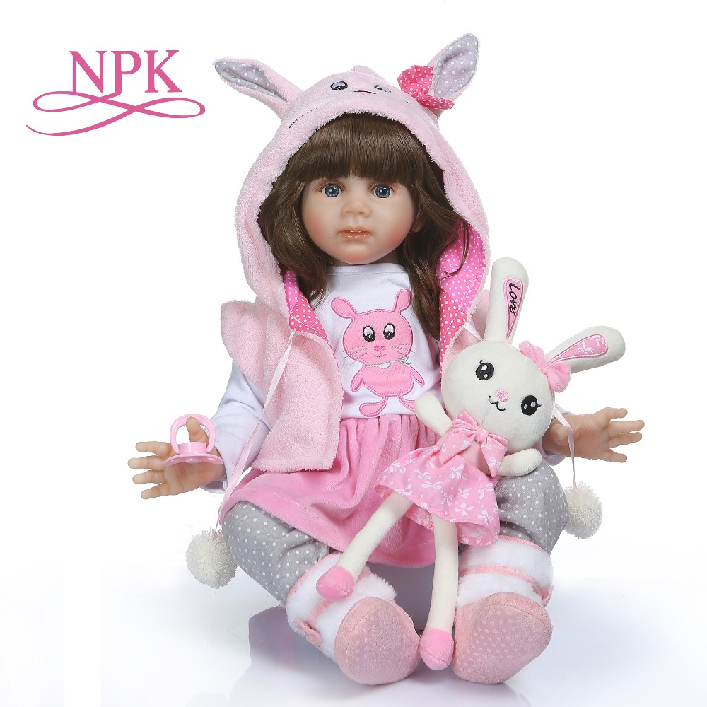 NPK 60CM high quality reborn toddler Fridolin soft silicone bebe doll reborn pincess long hair doll