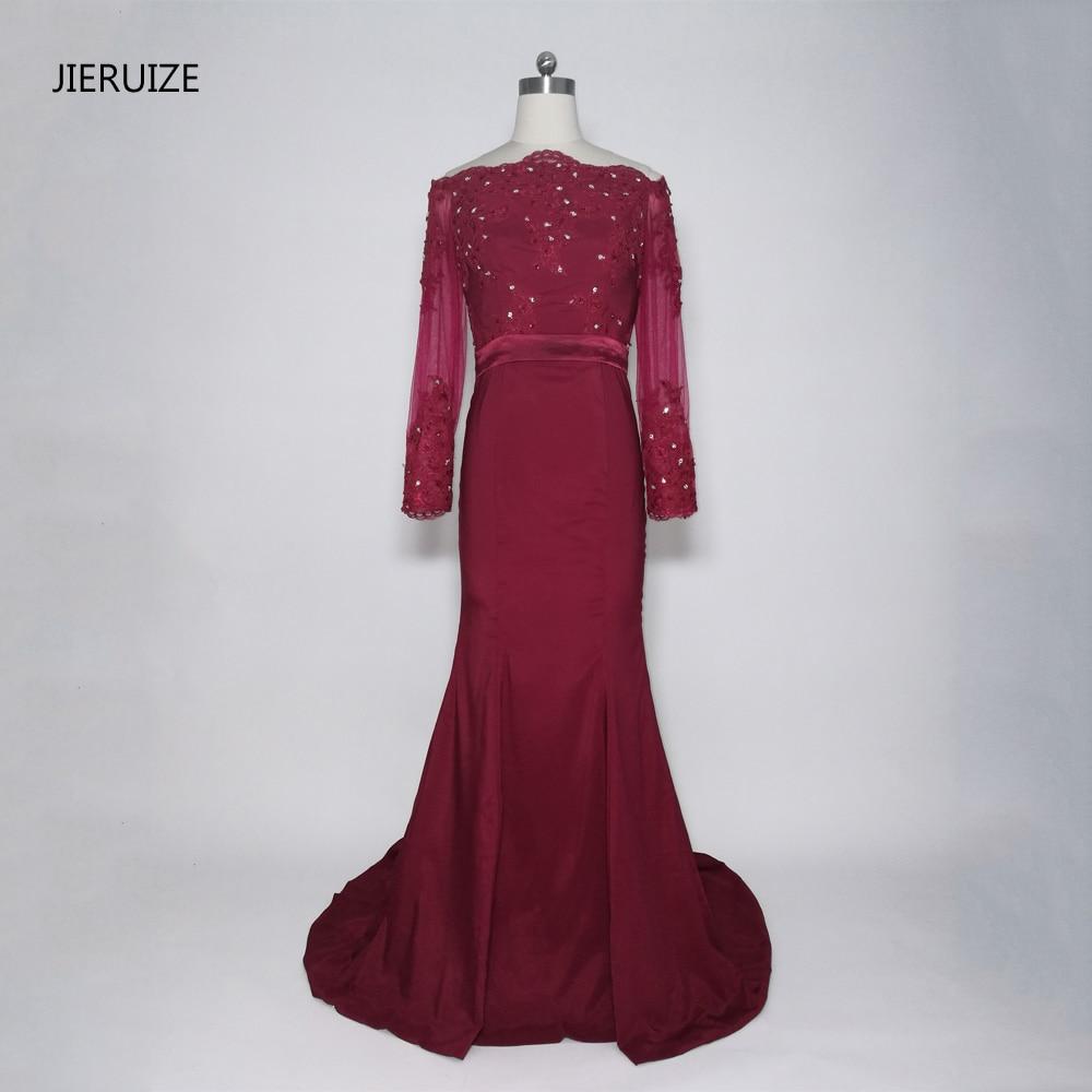 JIERUIZE Burgundy Mermaid Prom Dresses Långa Av Axeln Långärmade Aftonklänningar Formella Aftonklänningar Abendkleider