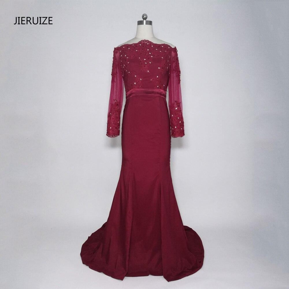 JIERUIZE bordeaux sirène robes de bal longue épaule manches longues robes de soirée formelle robes de soirée abendkleider