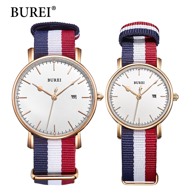 цена на BUREI 2017 Top Brand Men Women Dress Quartz Watch New Hand Couples Table Canvas Fashion Casual Clock Wristwatch Hot Sale Gift