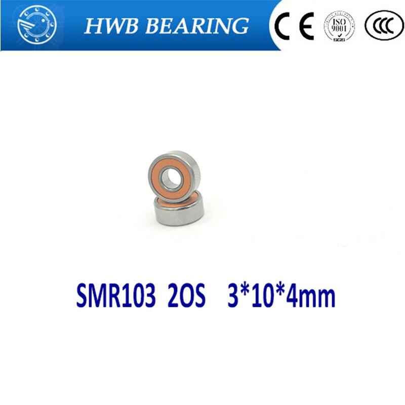 Free Shipping 2PCS SMR103 2OS 3*10*4mm ABEC-7 CB Hybrid Ceramic Stainless Lube Dry Fishing Reel Bearing SMR103-2RS SMR103C 2OS 1pcs fishing reel bearing s686 2rs abec 7 6 13 5 stainless steel hybrid ceramic ball bearings s686rs s686 2rs cb 6x13x5 mm