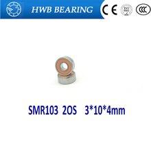 Free Shipping 2PCS SMR103 2OS 3*10*4mm ABEC-7 CB  Hybrid Ceramic Stainless Lube Dry Fishing Reel Bearing SMR103-2RS SMR103C 2OS