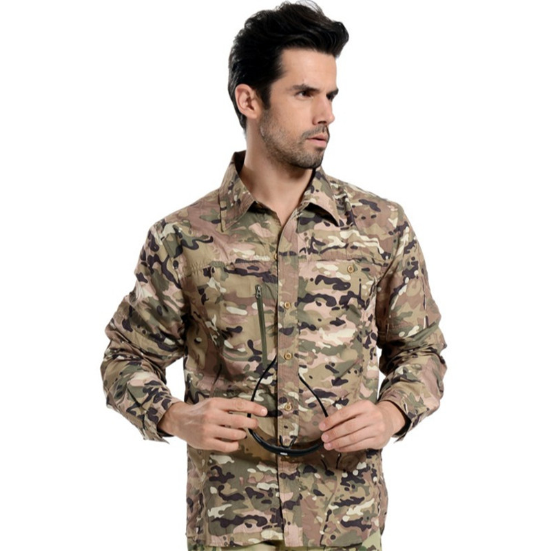 Detachable Sleeve Camouflage Casual male Shirt clothing tops tees Tactical Thin Shirt Buttoned long sleeve mens camo Shirts