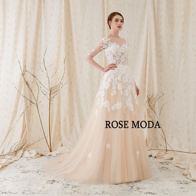 Rose Moda Fransk Blond Wedding Dress 2018 med långa SLeeves - Bröllopsklänningar - Foto 2
