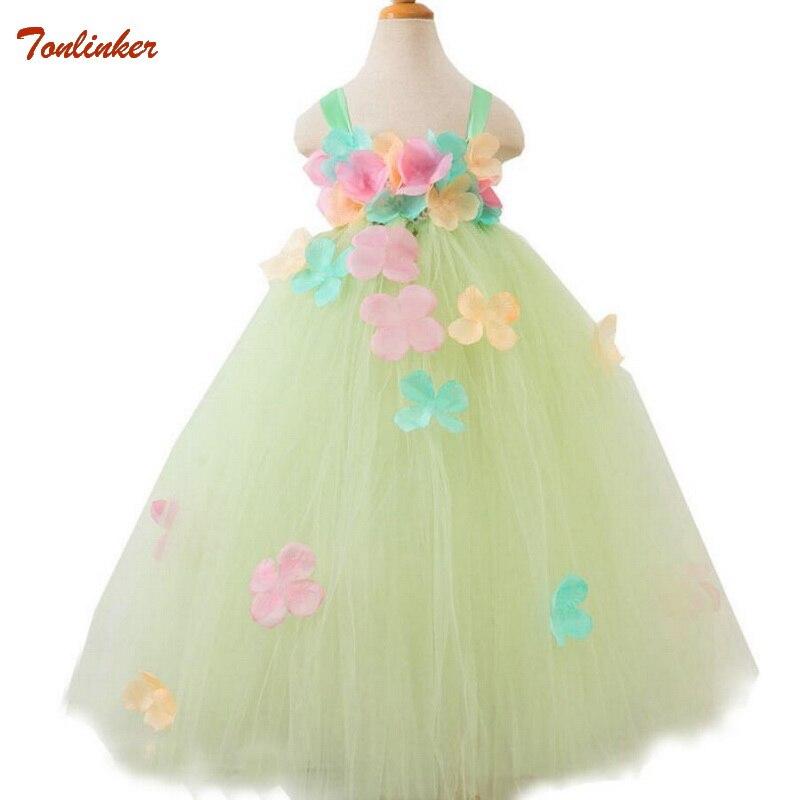 Tonlinker 2018 New Flower Fairy Girls Handmade Tutu Dress For 3 12 Years Children Wedding Party Prom Custom Flower Girl Dresses in Girls Costumes from Novelty Special Use