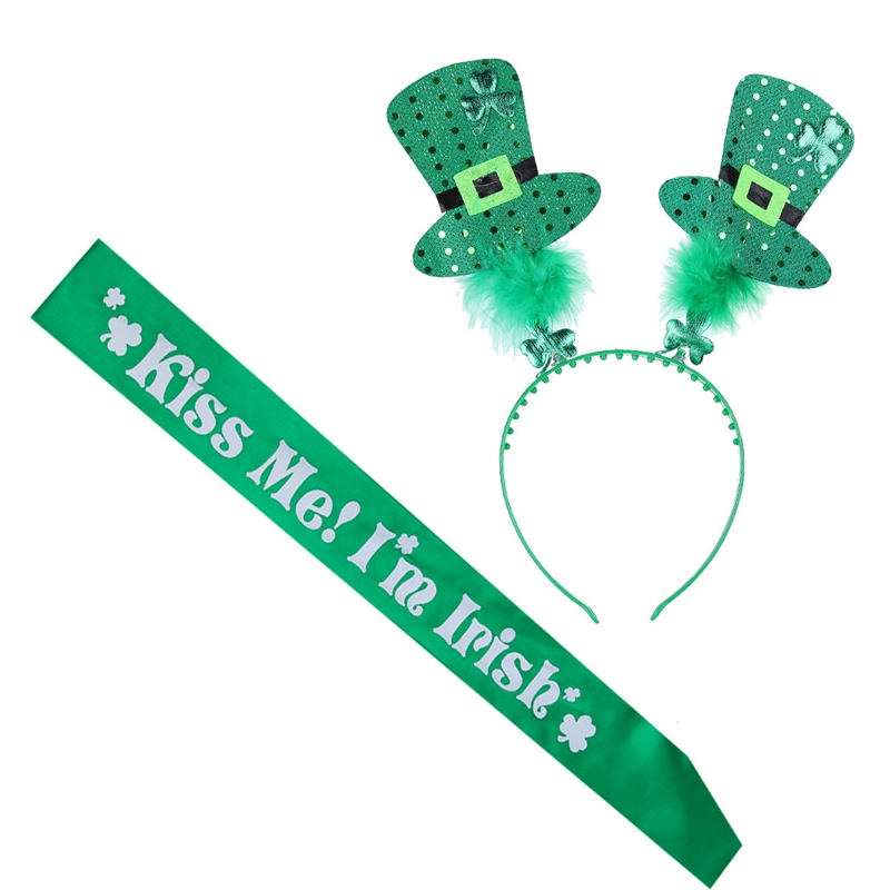 'Happy St Patrick's Day' Green Leprechaun Spring Head Bopper Headband & Sash For Women Adult Men Hair Accessories