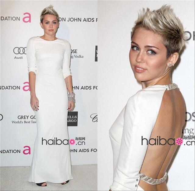 Vestidos Longos Bhackless Miley Cyrus Long Sleeve Big Ass Sheath Spandex Scoop Neckline Floor Length White