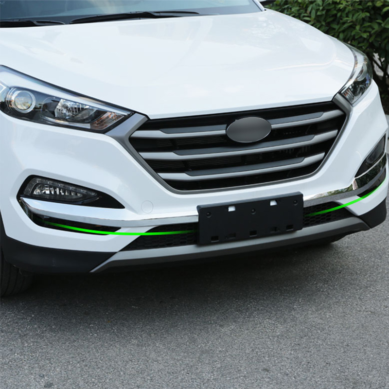 ABS Chromed Front Bumper Conner Protector Trim 2PCS For Hyundai Tucson 2015-2017