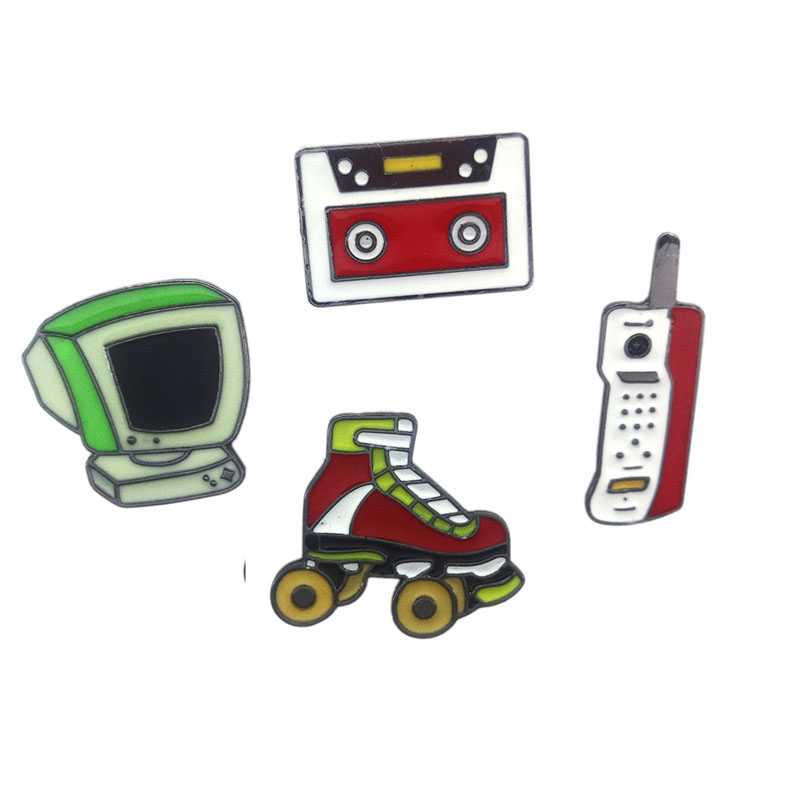 Nostalgic Cartoon Cute Computer Tape Roller Skates Mobile Phone Brooch Pins Button Pins Jeans Clothes Decoration Fashion Jewelry