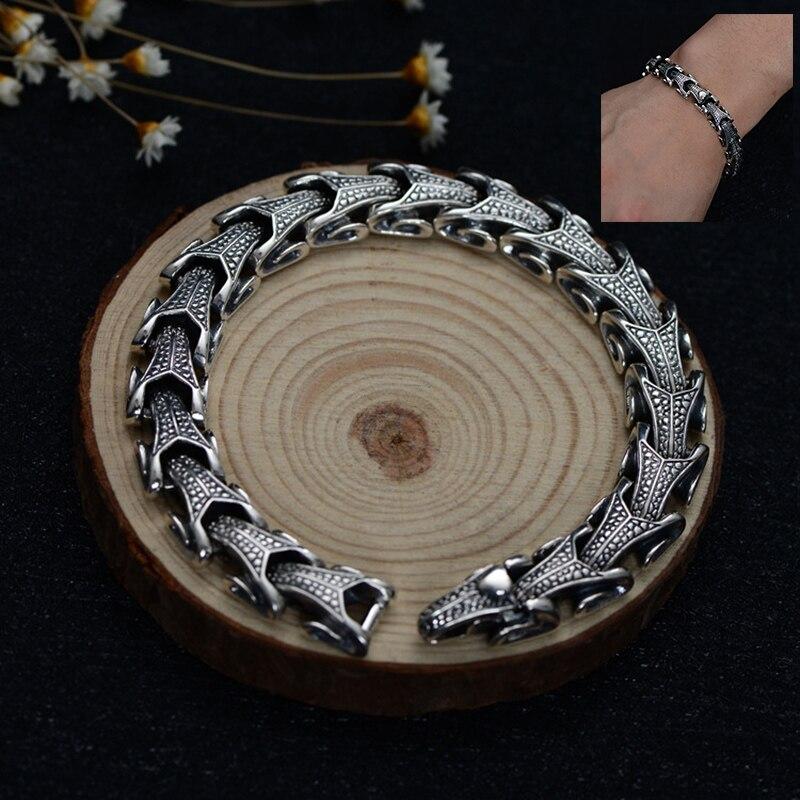 2018 nouveau 100% 925 Bracelet en argent Sterling tête de mouton pour hommes femmes Punk rétro charme chaîne Bracelet Bracelet cadeaux fête des pères