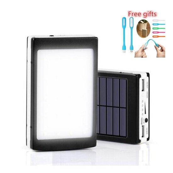 imágenes para Real 10000 mah Banco de la Energía Solar 10000 mAh Powerbank Universal de Carga de La Batería Solar Portátil para teléfonos móviles con la luz Del Flash