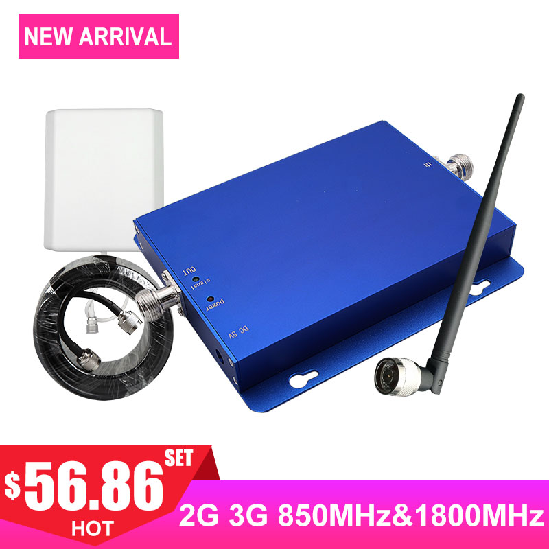 1800mhz Dcs Mobile Phone Signal Booster Dual Band Cellular Cellphone Signal Repeater Band3 Band5 Network Amplifier Kit Antenna -