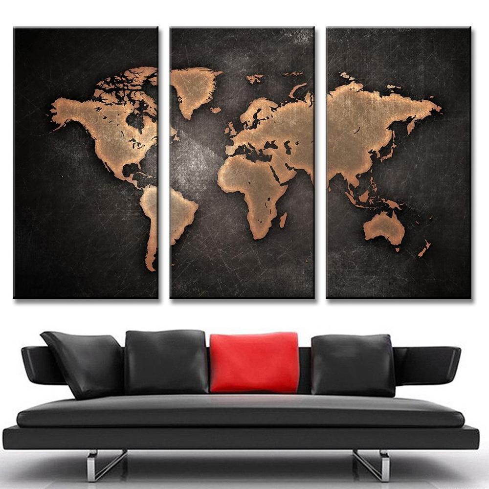 3 pieces world map paintings hd abstract world map canvas for Decoration pieces for drawing room