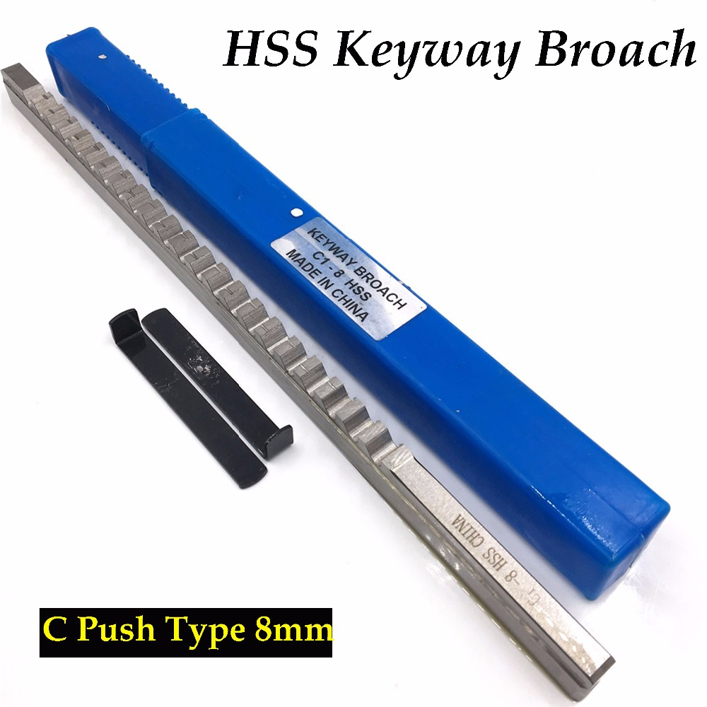 HSS Keyway Broach 8mm C Push Type Metric Size Broaches High Speed Steel Keyway Cutting Broaching Tools for CNC Router keyway broach 8mm c push type metric size broach high speed steel keyway cutting tool for cnc router