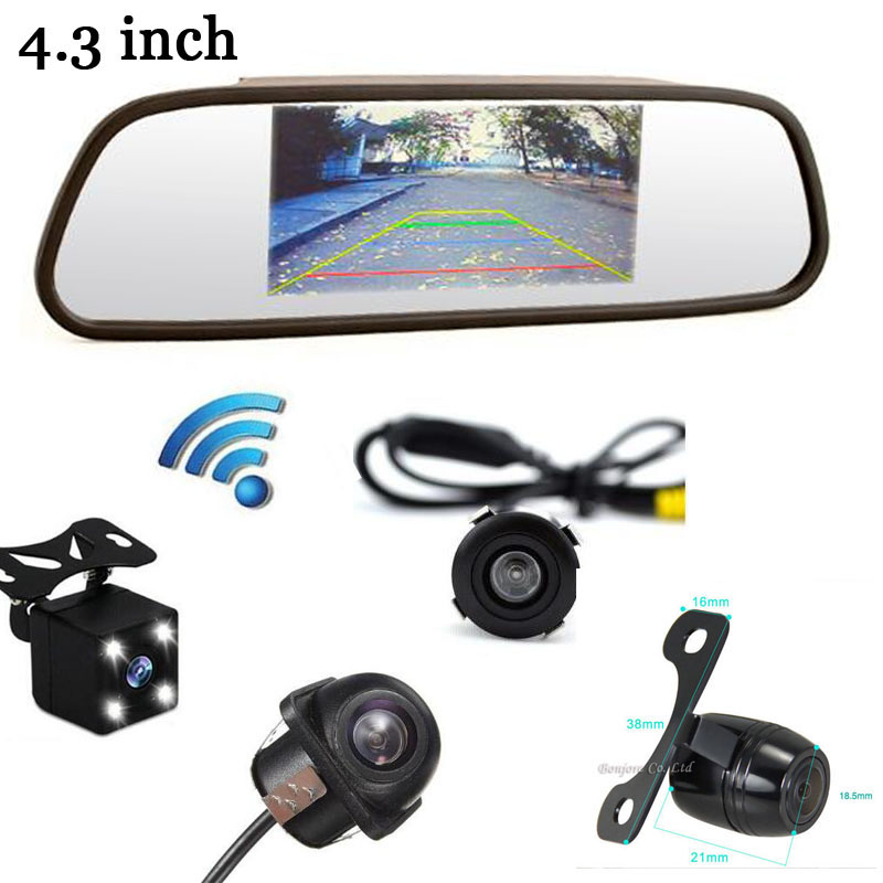Wireless HD Car 4.3 LCD Monitor Display with CCD Auto Rear view Camera Black Reverse Back up Parking Front camera System 3 in 1