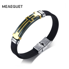 Meaeguet Stainless Steel Cross Symbol Charm Bracelet Men Top Quality Black Rubber Silicone Wristband Religious Jewelry