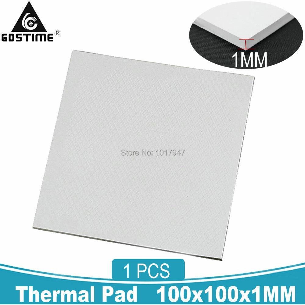 100mm x 100mm x 1mm GPU CPU Heatsink Cooling Thermal Conductive Silicone Pad
