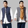 Cotton Padded Thick Linen Vest China Style Stand Collar Men Sleeveless Jacket Male High Quality Brand Slim Fit Casual Waistcoat