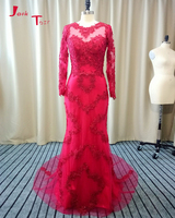 Jark Tozr Custom Made Formal Gowns Long Sleeve Appliques Beading Sequin Red Tulle Mermaid Evening Dresses