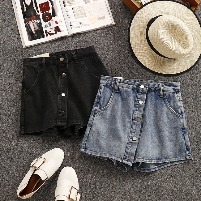 2019 Summer New Arrival Korean Style High Waisted Denim   Shorts   Chic Skirt   Shorts   With Buttons & Pockets Decorated Free Shipping