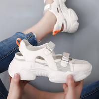 Casual White Shoes Women Chunky Platform Sneakers Hollow chaussures femme Fashion Brand Ladies Chunky footware Breathable Beige