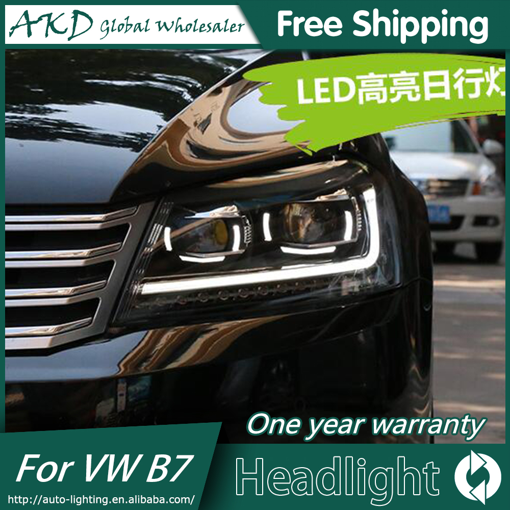 AKD Car Styling for New  VW Passat B7 Headlights 2012-2015 Passat  LED Headlight DRL Bi Xenon Lens High Low Beam akd car styling for nissan teana led headlights 2008 2012 altima led headlight led drl bi xenon lens high low beam parking