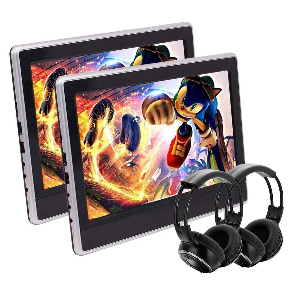 11.6 Inch Pair of Car Headrest DVD Player HD 1080P TFT LCD Screen Headrest Monitor with HDMI Port Pair of IR Headphone pair of rhinestoned hollowed leaf anklets