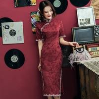 2019 vintage shanghai story party wine red Cheongsam qipao
