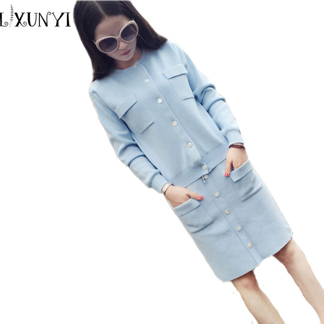 Autumn Winter Knitted Women Skirt Suit Fashion Cashmere 2 piece skirt set Solid sweater Jacket+Skirt two piece skirt sets Pink