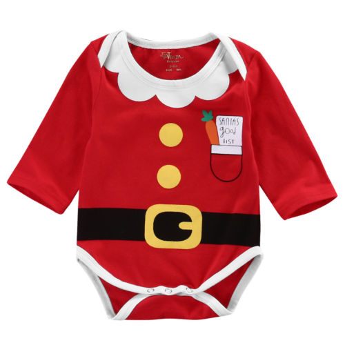 Baby Boys Girls Christmas   Romper   Red Cartoon Jumpsuit Newborn Kids Fashion Autumn Clothes Outfit