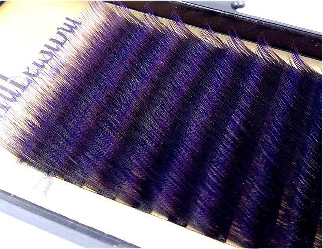 HBZGTLAD C/D curl 0.1mm 8 14 false lashes Gradient purple color eyelash individual colored lashes Faux volume eyelash extensions