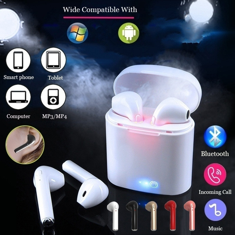 i7s TWS Mini Bluetooth Wireless Earphones Earbuds With Charging Box Sports Headsets Android Audifonosi7s TWS Mini Bluetooth Wireless Earphones Earbuds With Charging Box Sports Headsets Android Audifonos
