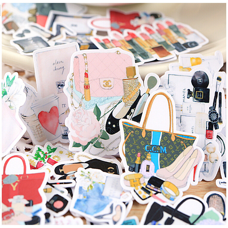 33pcs Creative Kawaii Self-made Hand-painted Bag Cosmetic Beautiful Stickers /Decorative Sticker /DIY Craft Photo Albums