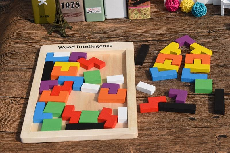 Gros 100 pièces/Carton Tetris Puzzle en bois jouet famille jeu construction géométrique Tangram enfant bébé jouets cadeau d'anniversaire - 4