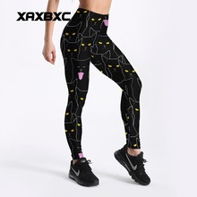 XAXBXC 4113 Sexy Girl Pencil Pant Black Cat Witch Magic Printed Elastic Slim Fitness Workout Push Up Women Leggings Plus Size