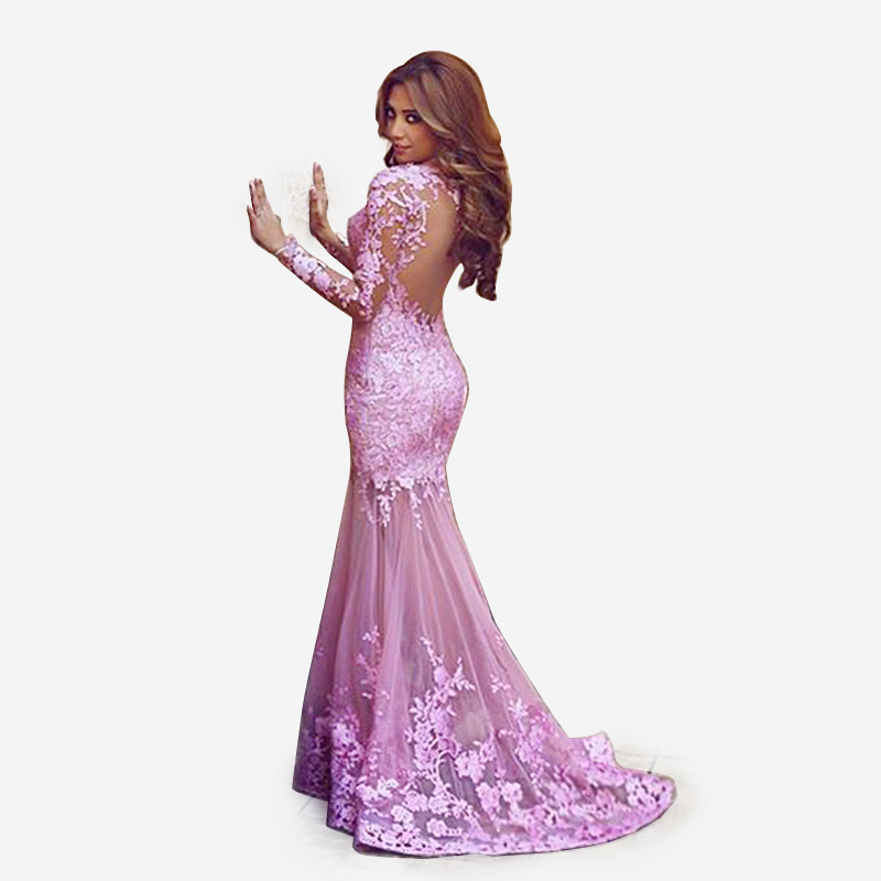 Long Purple Prom Dresses with Lace Sleeves – fashion dresses