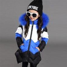 Meninas casaco de inverno crianças parkas irregular hem grossa gola de pele casaco grande acolchoado jaqueta de inverno da menina criança crianças parkas