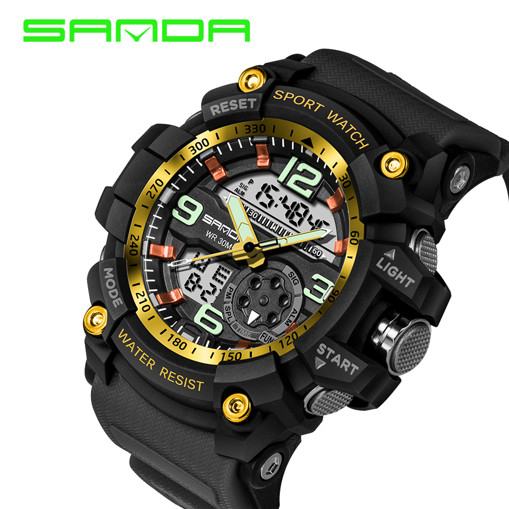 SANDA S SHOCK Sport Watch Men's Digital Quartz Wrist Watches 2018 Top Brand Luxury Clock 50M Dive Military Sports Watches Saat