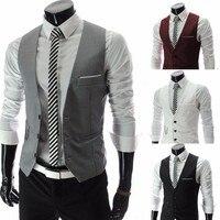 European Style Men S Fashion Suit Vest Business Slim Gentleman Waiters Vest Men Suits Blazer Black