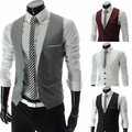 European style Men's fashion Suit Vest Business Slim gentleman waiters Vest Men Suits Blazer Black/White/Gray Vest Suit For Men