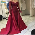 Sexy burgundy Satin Mermaid Prom Dresses 2017 two pieces detachable skirt prom Lace Long Sleeve Evening Gowns Formal Party Gown