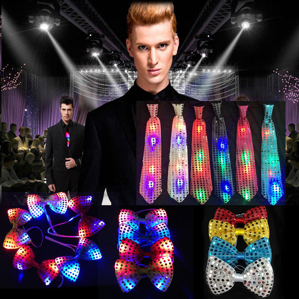 2019 New Fashion Casual LED Bow Tie Necktie Lights Sequins Bowtie Wedding Party Mens Flashing Light Up Male Dress Shirt Gravatas