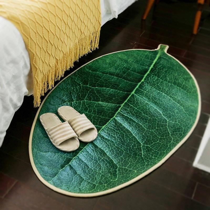 Оригинальность 3D реалистичные зеленые листовой ковер Ковры Дома Спальня Пены Анти-скольжения дверной коврик ковры журнальный столик Коврик для прихожей