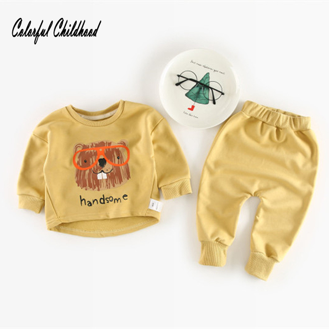 590e3ca4bb021 Baby Boy/Girls Clothes Set autumn Long Sleeve Cute Suit Roupas Infantis  cartoon lion/bear/fox print Kids outfit 0 to 24m
