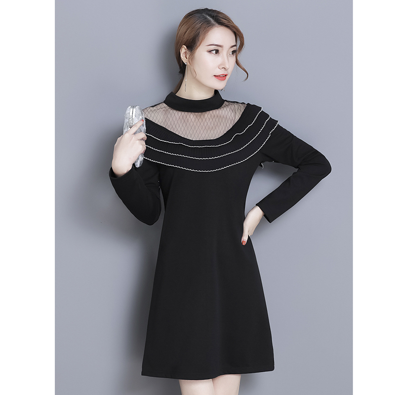Plus Size Spring Mesh Stitching Ruffles A Line Dress Ladies 2018 NEW Long Sleeve Turtleneck Solid Color Tunic Dress Pullover