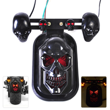 Universal nueva motocicleta trasera cráneo negro kit de freno de la cola turn signal light fit para harley bobber honda kawasaki yamaha suzuki