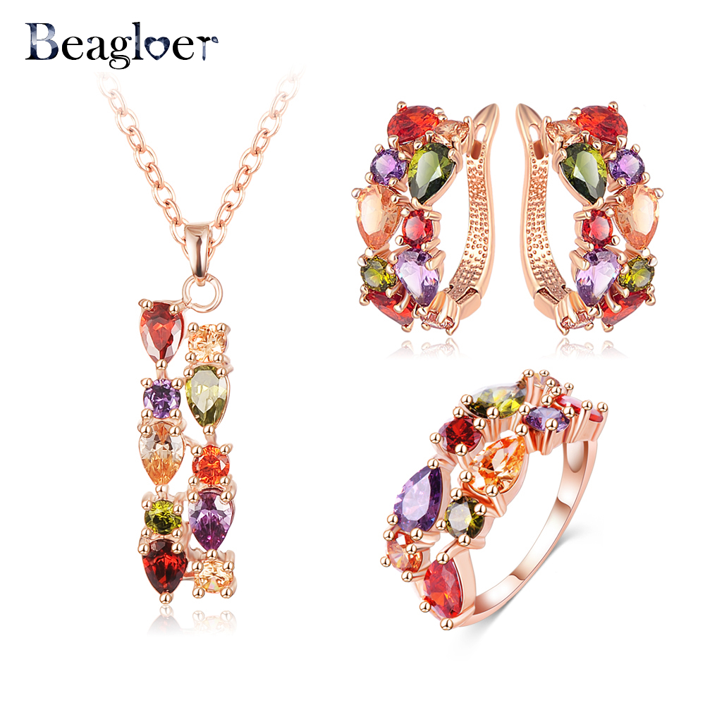 Beagloer Brand Luxury Rose Gold Color Multicolor Cubic Zircos