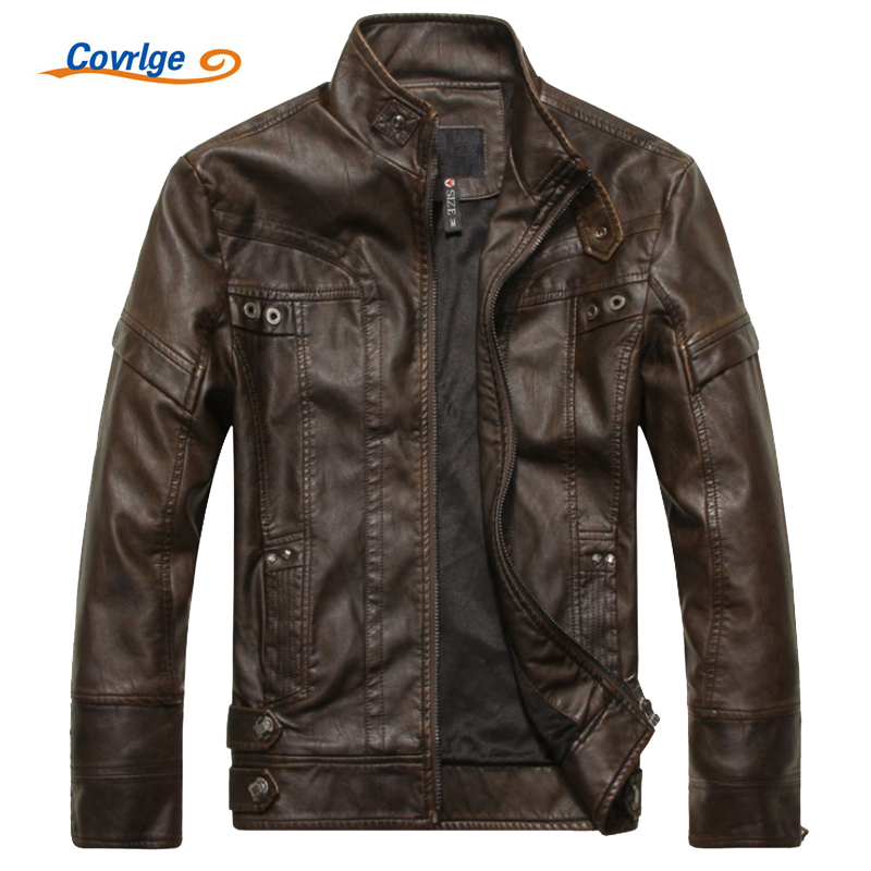 Covrlge Mens Leather Jacket 2017 Winter Slim Fashion Mens Solid PU Jackets Brand Clothing Male Stand Motorcycle Jacket MWP001