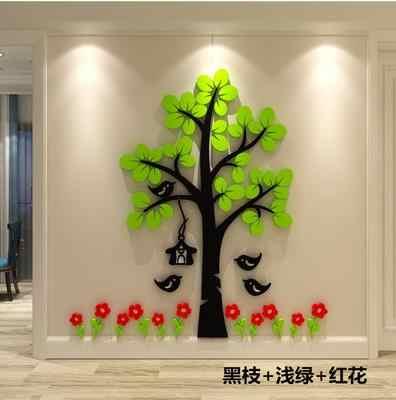 Kreatywne akrylowe kreskówkowe drzewo 3d naklejka ścienna papier salon sypialnia sofa TV tło samoprzylepne dekoracje-100
