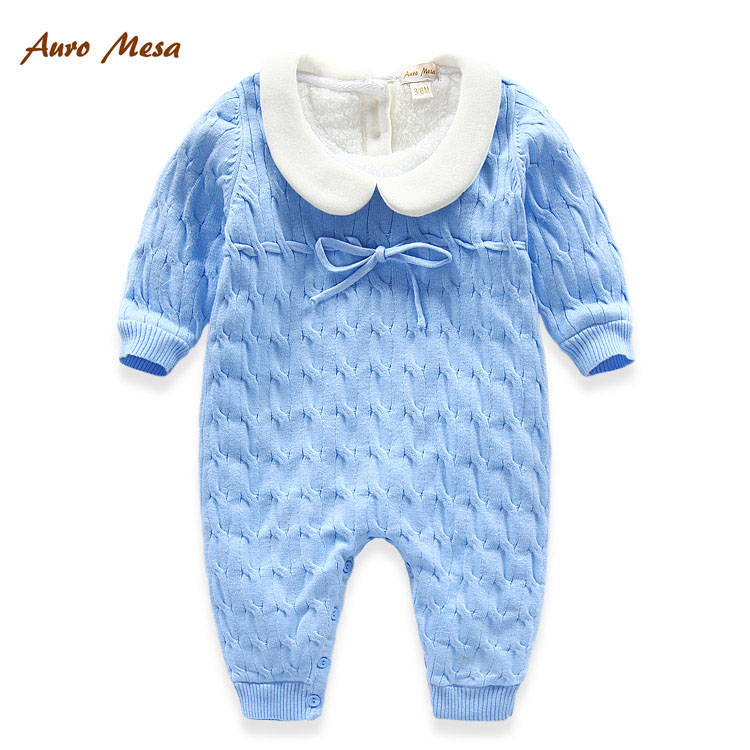 2016 Baby Winter Clothes Blue Knitted Romper Flannel Thick
